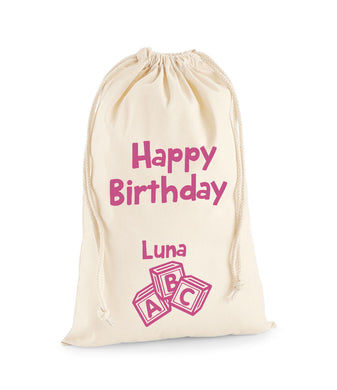 Personalised Wooden Block Sack -Birthday Sack