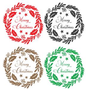 Merry Christmas Wreath - Wall / Window Sticker