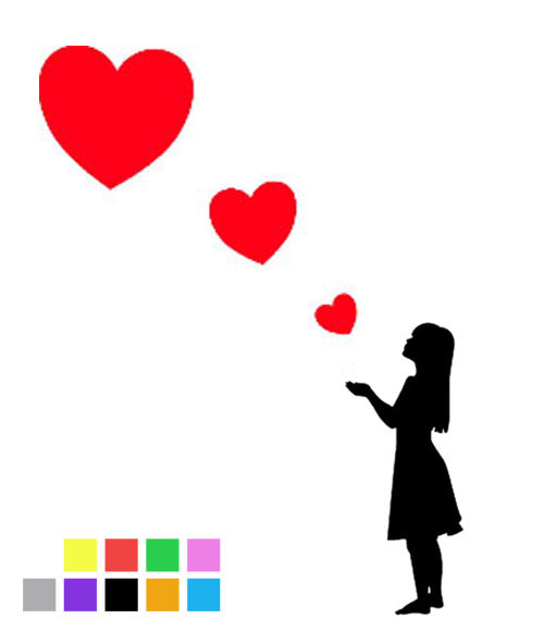 Young Girl Blowing Three Heart Stickers - Create Window Wall Glass Display - 7 Colours