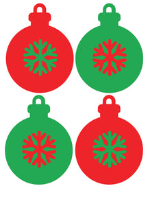 Christmas Baubles - Set of 4 - Christmas Wall / Window Sticker