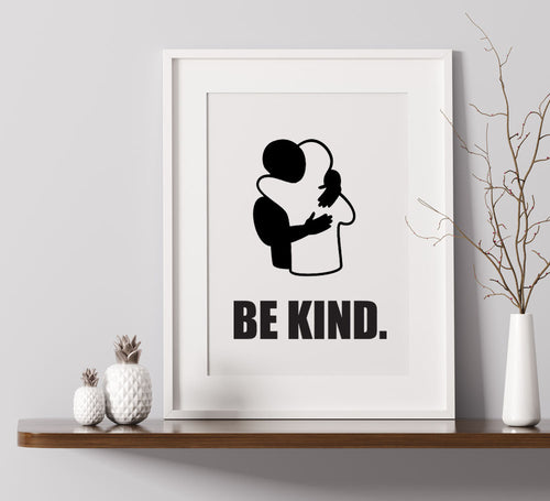 Be Kind - Hug Silhouette - A4 Print
