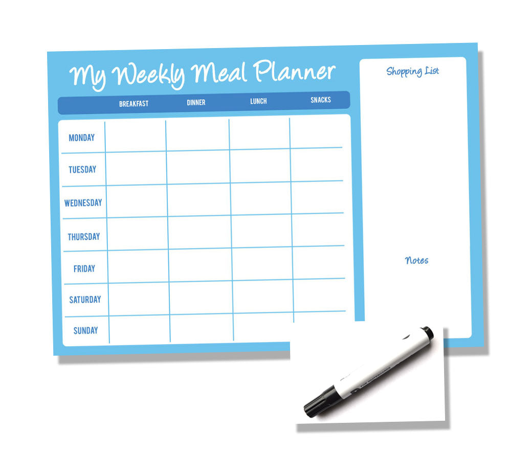 Weekly Wipe Clean Laminated A4 Meal / Food Planner - Blue