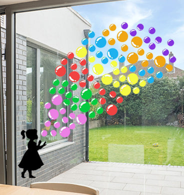 Child Blowing Rainbow Bubble Stickers - Choose your silhouette
