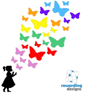 Child Blowing Rainbow Butterflies - Choose Your Silhouette