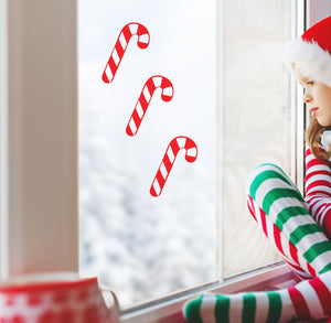 Candy Cane - Set of 3 - Christmas Wall / Window Sticker
