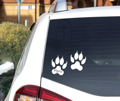 Cat Paw Prints With Name - Car Sticker