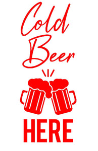 Cold Beer - Vinyl Wall / Window Art Sticker - Pub Man Cave