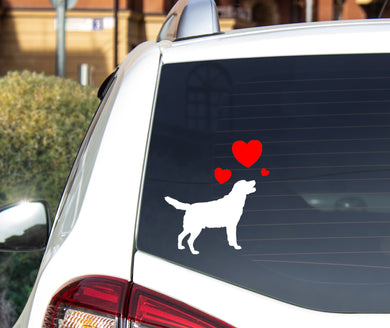 Dog Silhouette with hearts - Choose your Breed - Car Sticker