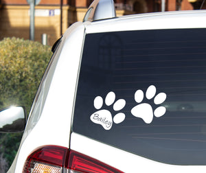 Dog Paw Prints with Name - Car Sticker