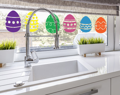 Colourful Easter Eggs  - Easter Vinyl Decoration