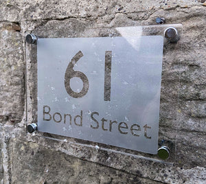 Acrylic Etch Effect House Sign - House Number and Street - A5 - 210 x 148mm