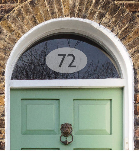 House Number Sticker  - Frosted Etch Effect Oval