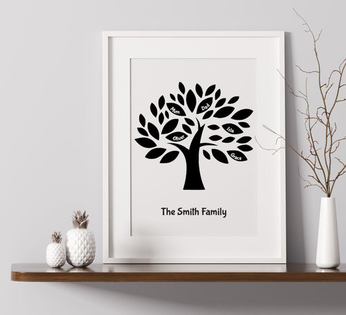 Family Tree Personalised A4 Print