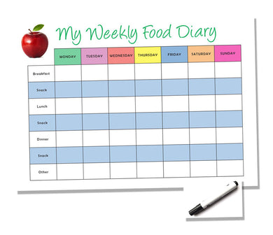 Weekly Reusuble A4 Food Diary