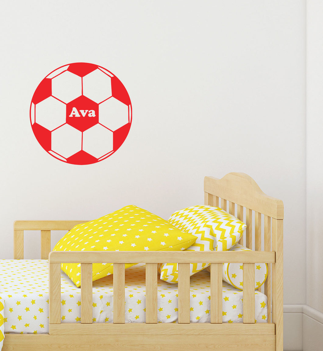 Personalised Football Vinyl Sticker - Children's Wall Art