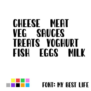 Fridge Item Adhesive Labels - Cheese, Meat, Veg, Milk, Treats, Eggs, Sauces