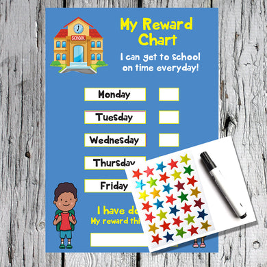 Get to School on Time A4 Reward Chart