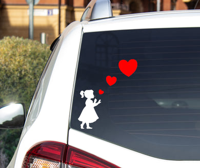 Girl Blowing Three Heart Stickers - Car Sticker