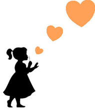 Load image into Gallery viewer, Girl Blowing Three Heart Stickers - Create Window Wall Glass Display - 7 Colours