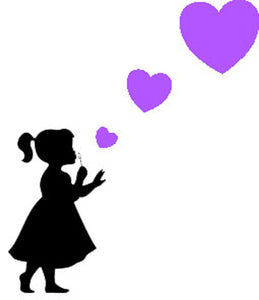 Girl Blowing Three Heart Stickers - Create Window Wall Glass Display - 7 Colours