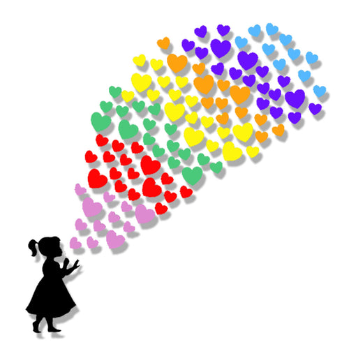 Child Blowing Rainbow Heart Stickers - Choose Your Silhouette