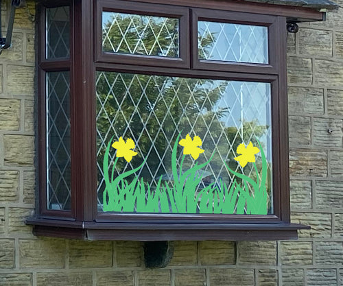 Spring Grass And Daffodil Display  - Easter Vinyl Decoration