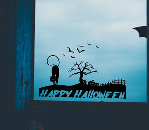 Happy Halloween Scene - Vinyl Window Sticker