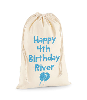 Personalised Name And Age Sack With Balloons -Birthday Sack