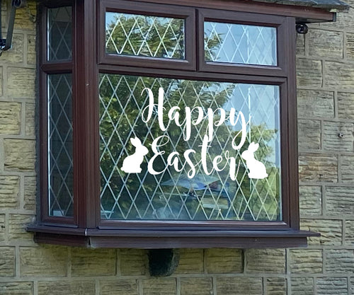 Happy Easter With Bunnies - Easter Vinyl Decoration