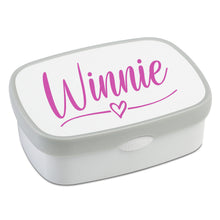 Load image into Gallery viewer, Personalised Lunch Box Name Sticker - Heart and Kiss