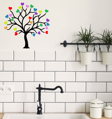 Tree With Rainbow Hearts Vinyl Sticker - Create Window, Wall or Glass Display