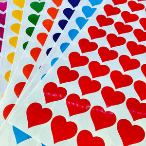 Large Rainbow Heart Stickers - Window Glass Decorating - 420 Stickers 7 Colours