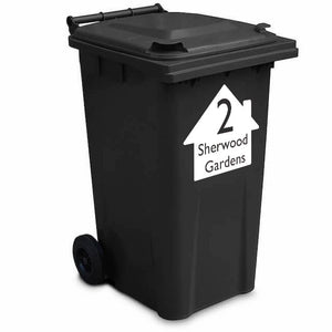 House With Number And Street Sticker - Wheelie Bin Sticker
