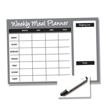 Load image into Gallery viewer, Weekly Wipe Clean Laminated A4 or A3 Meal / Food Planner - Black and Grey