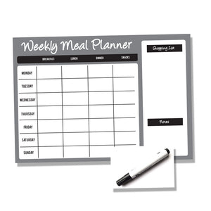 Weekly Wipe Clean Laminated A4 or A3 Meal / Food Planner - Black and Grey