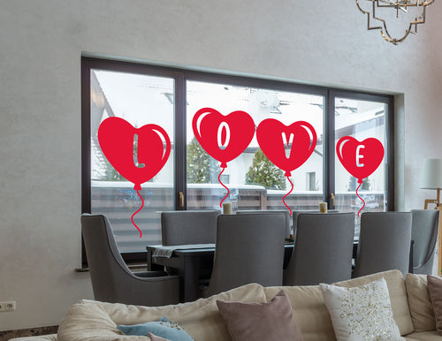 LOVE Balloon Window/Wall Sticker - Valentines Gift Sticker