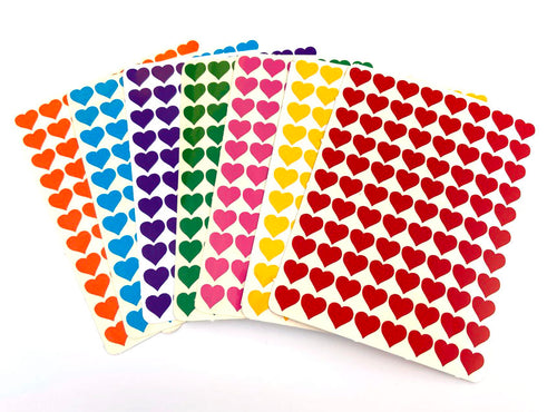 Rainbow Heart Stickers - 1cm - Window Glass Decorating - 616 Stickers 7 Colours