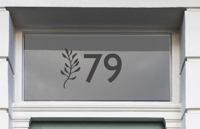 House Number With Sprig Sticker for Doors and Glass Windows