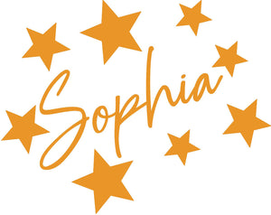 Personalised Name Star Sticker for Childs Bedroom - Children's Wall Art