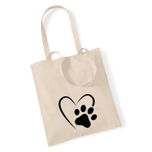 Load image into Gallery viewer, Paw Print Heart - Tote Bag