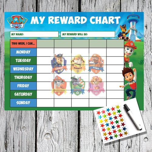 Paw Patrol Kids A4 Reward Sticker Chart