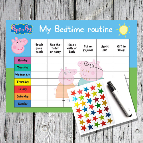 Peppa Pig Bedtime Routine Kids Reward Chart