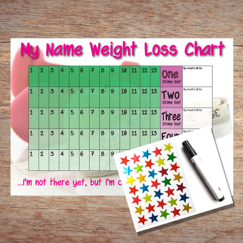 Personalised 5 Stone Weight Loss Chart with Stickers and Pen