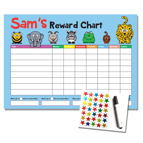 Personalised A4 Animal Design Reward Chart