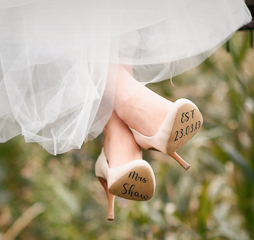 Personalised Wedding Shoe Vinyl Stickers - Weddings