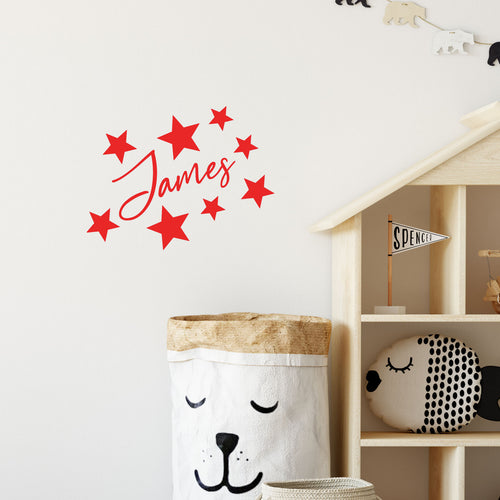 Personalised Name Star Sticker for Childs Bedroom - Toy Box - Tub