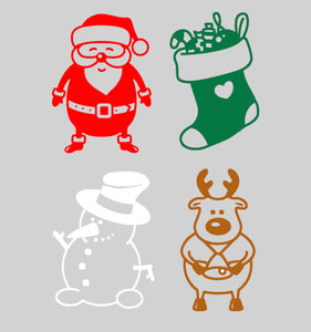 Santa, Stocking, Snowman and Reindeer - Set of 4 - Christmas Wall / Window Sticker