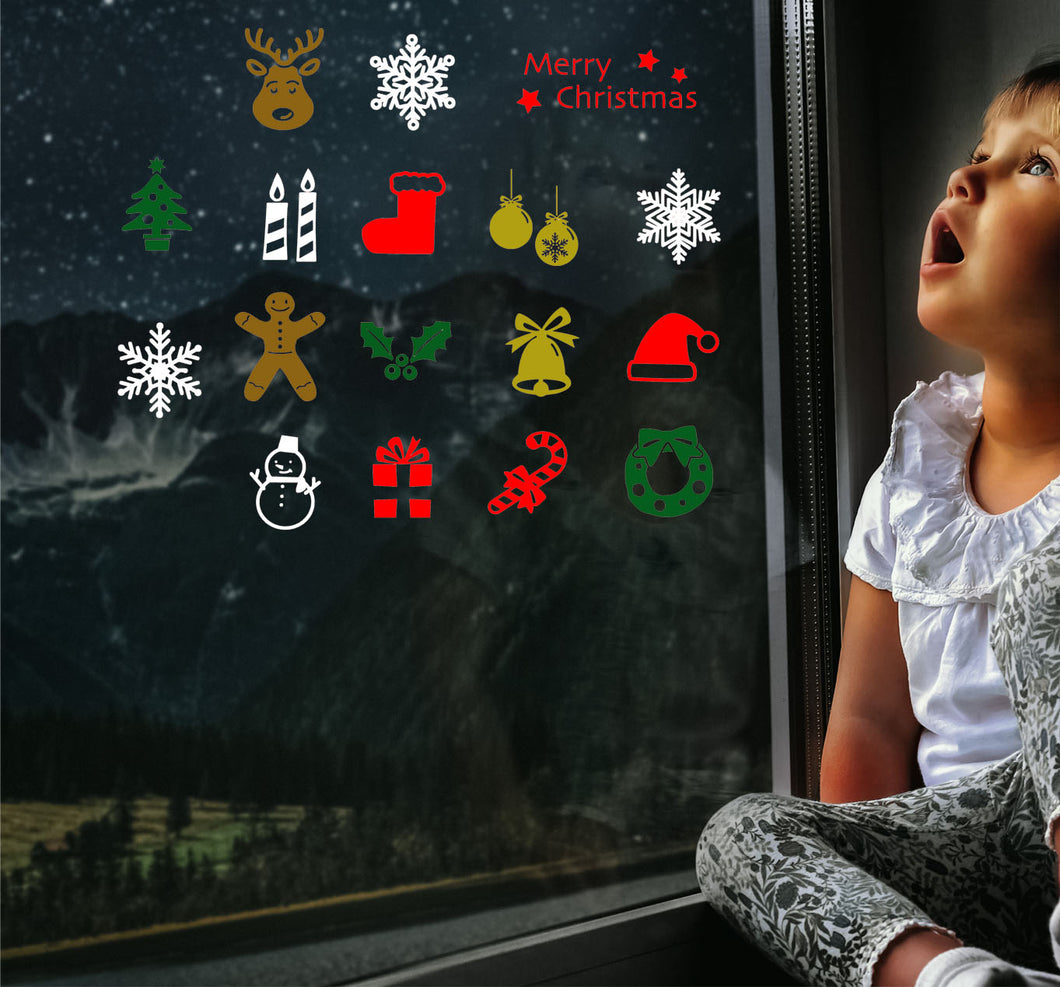 17 Mini Christmas Sticker  - Christmas Wall / Window Sticker