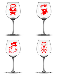 Santa, Stocking, Snowman and Reindeer - Christmas Wine Glass Stickers