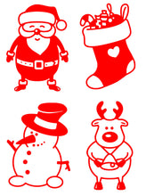 Load image into Gallery viewer, Santa, Stocking, Snowman and Reindeer - Christmas Wine Glass Stickers